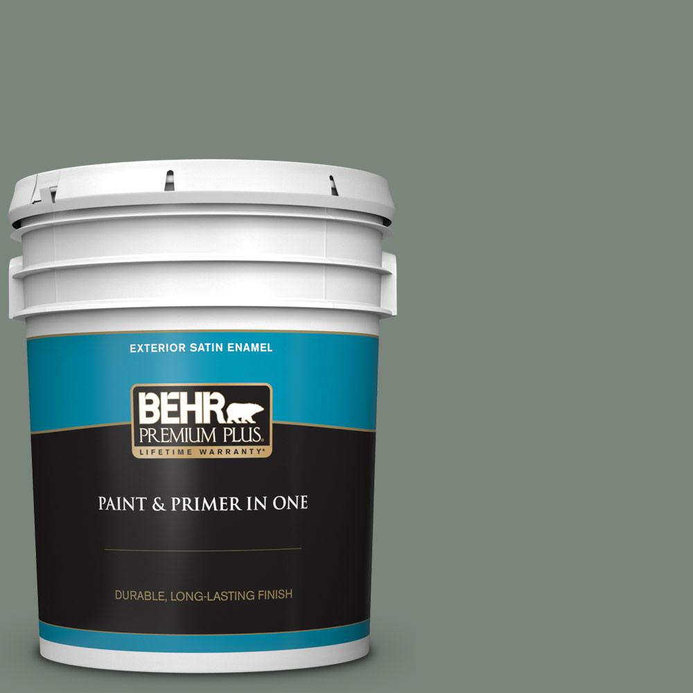 5 gal. #N410-5 Village Green Satin Enamel Exterior Paint and Primer in One