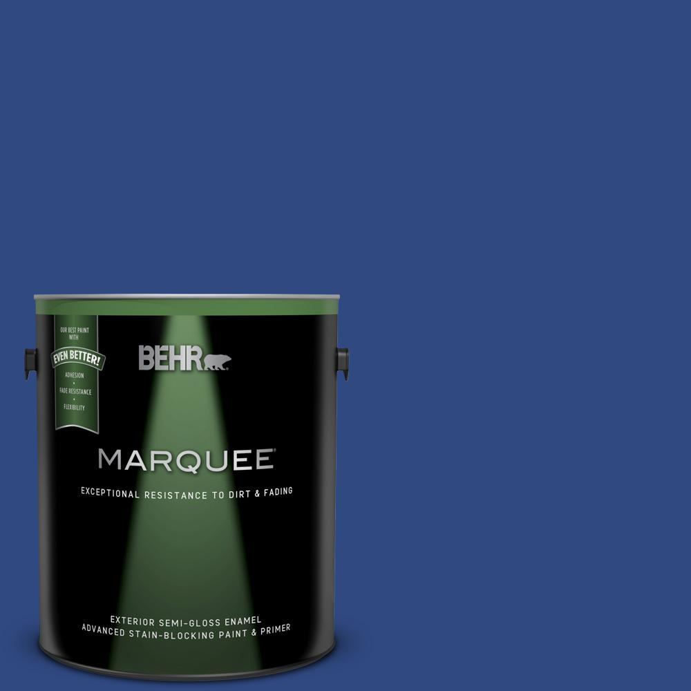 1 gal. #P530-7 Tanzanite Semi-Gloss Enamel Exterior Paint and Primer in One