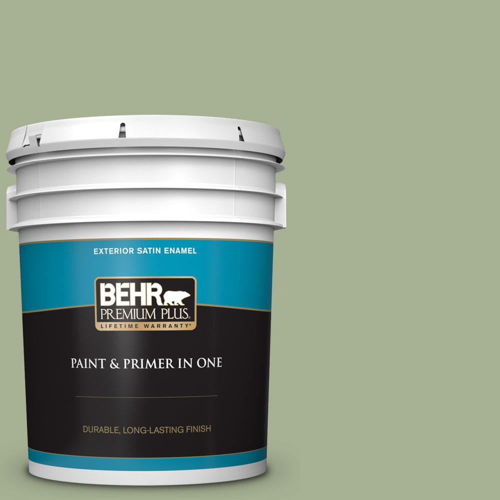 5 gal. #PPU11-06 Willow Grove Satin Enamel Exterior Paint and Primer in One