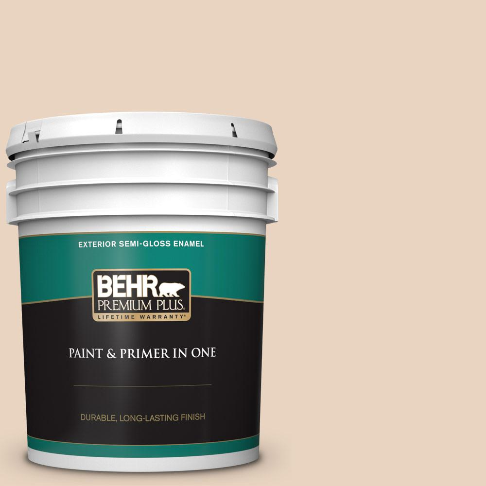5 gal. #N280-2 Writers Parchment Semi-Gloss Enamel Exterior Paint and Primer in One