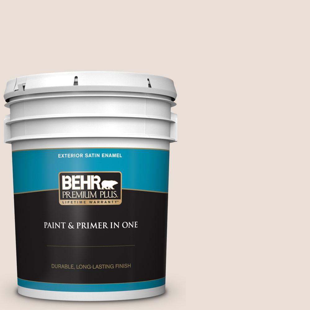 5 gal. #N190-1 Smokey Cream Satin Enamel Exterior Paint and Primer in One