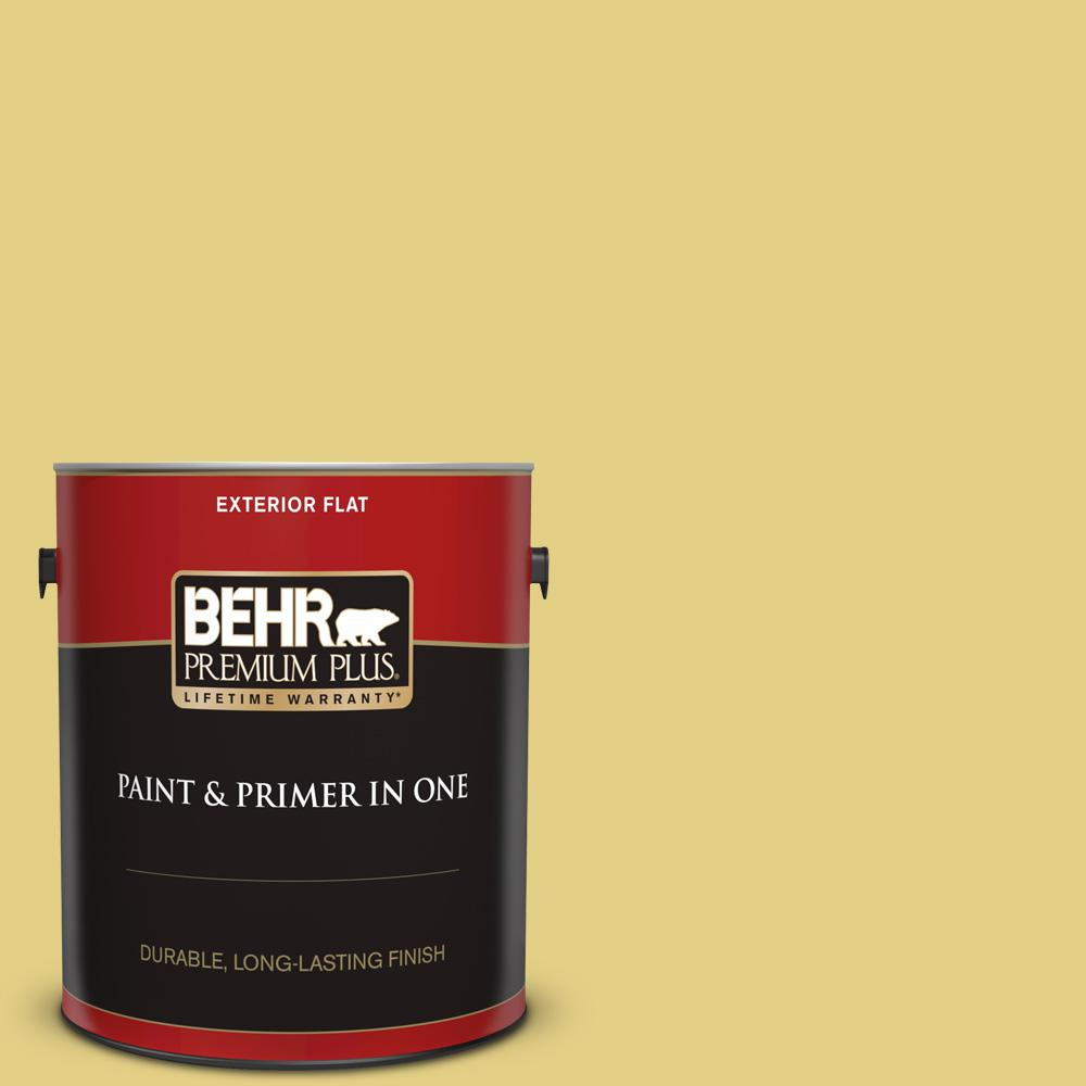 1 gal. #P330-4 Starfruit Flat Exterior Paint and Primer in One