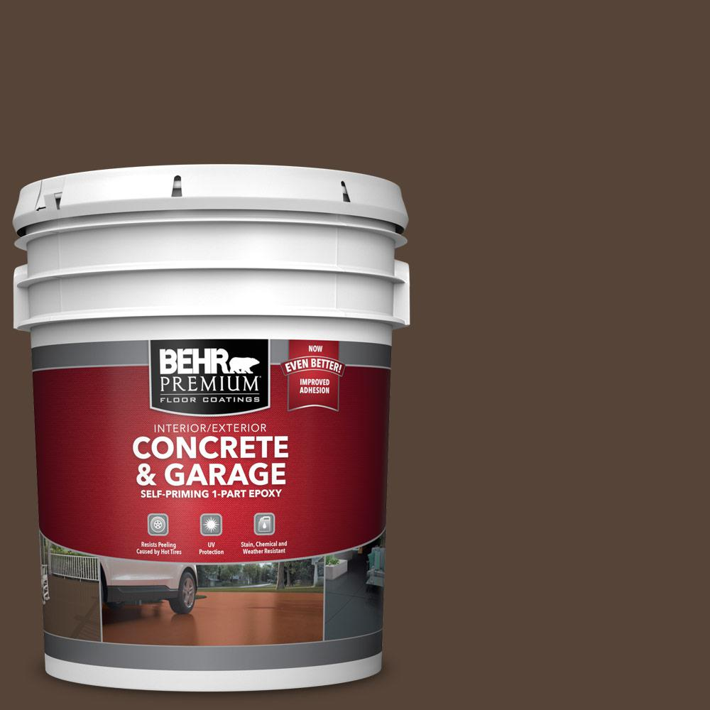 5 gal. #N170-7 Baronial Brown 1-Part Epoxy Satin Interior/Exterior Concrete and Garage Floor Paint