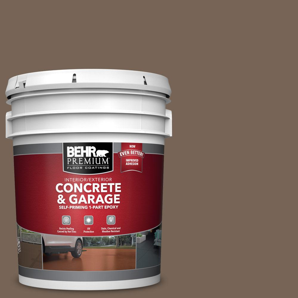 5 gal. #N220-6 Landmark Brown 1-Part Epoxy Satin Interior/Exterior Concrete and Garage Floor Paint